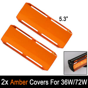 2x Snap On Amber Lens 36w Cover For 12inch 72w 22 144w 7 Led Work Light Bar