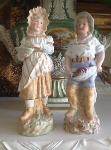 Beautiful Rare Marked Heubach German Bisque Figurines Piano Baby Mint Condition