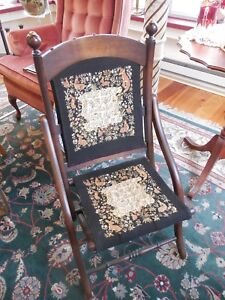 Vintage Folding Needlepoint Chair Reduced Price