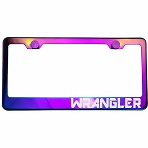 Polish Neo Neon Chrome License Plate Frame Wrangler Laser Etched Metal Screw Cap