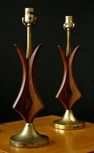 Pair 2 Mid Century Modern Danish Sculptural Walnut Table Lamps Modeline Like