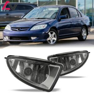 For 2004 2005 Honda Civic Fog Lights Wiring Switch And Bezels Clear Lens