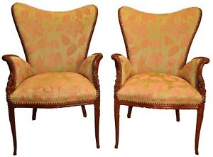 Pair Of Carved Sweetheart Fireside Chairs
