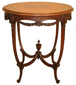 French Louis Xiv Style Carved Inlaid Marquetry Walnut Round Side Table