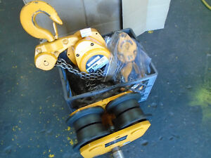 C187 Harrington Cf050 5 Ton Hand Chain Hoist 30 Lift W I beam Trolley Local