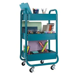 Metal Rolling Storage Cart 3 Tiers Utility Mobile Cart With Handels New