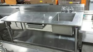 Used John Boos 72 Work Table With Prep Sink