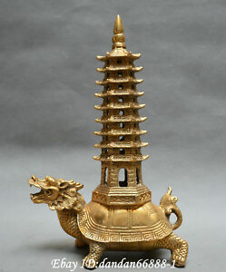 Collect Chinese Fengshui Old Bronze Dragon Turtle Pagoda Auspicious Lucky Statue