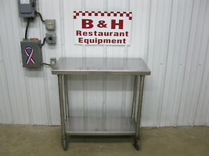 18 X 36 Stainless Steel Heavy Duty Mobile Work Kitchen Table W Under Shelf