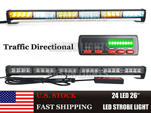 26 24w Led Strobe Traffic Advisor Emergency Directional Light Bar Amber White