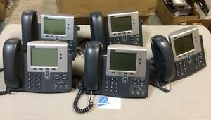 Lot Of 5 Cisco Cp 7940g 7940g Voip Poe Ip Business Phone W Handsets