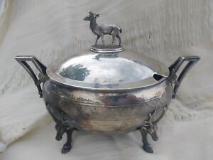 Antique Stag Deer Figural Reed Barton Silverplate Soup Tureen Beauty