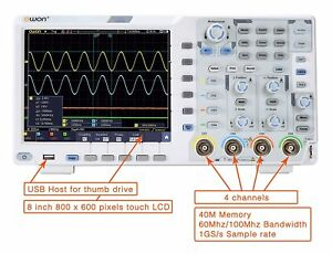 Owon Xds3064ae Oscilloscope 60mhz 4ch 14bits Standard W touch i2c Spi Rs23