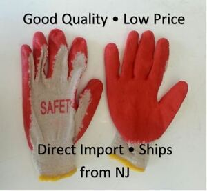 Wholesale 300 Pairs Red Latex Rubber Coated Work Gloves