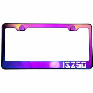 Polish Neo Neon Chrome License Plate Frame Is250 Laser Etched Metal Screw Cap