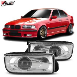 92 98 For Bmw E36 Clear Lens Pair Bumper Fog Light Lamp Projector Replacement