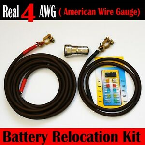 Battery Relocation Kit Real 4 Awg Cable Top Post 15 Ft Red 3 Ft Black