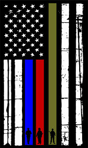 Thin Blue Line Soldier Decal Stars Right Firefighter Police Military Decal