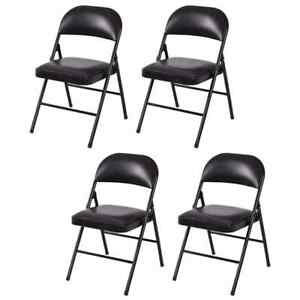 Set Of 4 Outdoor Steel Wedding Party Lounge Soft Padded Folding Stackable Chairs