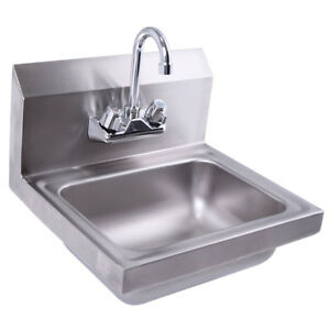 17 X 15 Stainless Steel Hand Sink With Faucet Strainer Silver Wall Mount