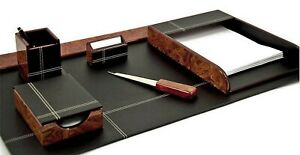 Desk Accessories stratford 6 piece Burl Wood Black Leather Desk Set