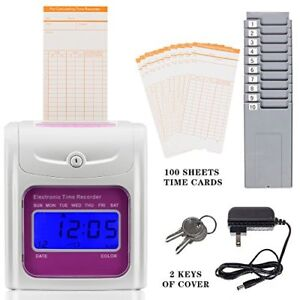 S 991 Employee Time Clock Recorder Machine Include 100 cards And Two 10 slot 694