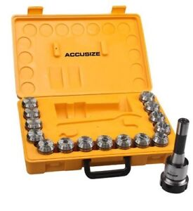 Accusize R8 Shank 15 Pcs Er40 Collet Set Wrench In Fitted Strong Box ne