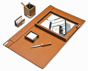Desk Accessories cambridge 6 piece Leather Desk Set