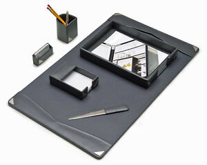 Desk Accessories oxford 6 piece Grey Leather Desk Set
