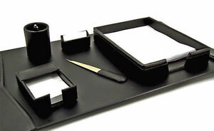 Desk Accessories warwick 6 piece Black Leather Desk Set