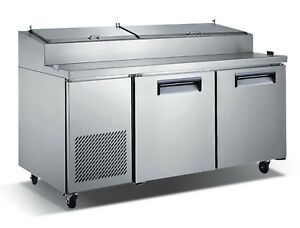 Commercial Kitchen Refrigerated Pizza Prep Table 71 With 2 Doors