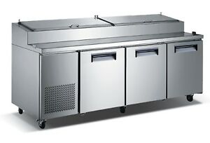 Commercial Kitchen Refrigerated Pizza Prep Table 92 With 3 Doors