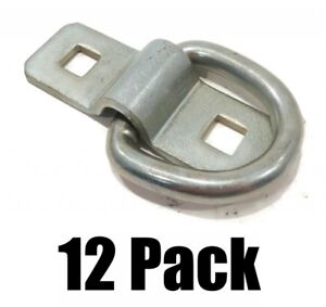 12 New 3 8 Steel D Ring Rope Tie Downs For Trailer Flatbed Truck Anchor Cargo