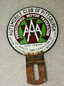 Vintage Pittsburgh Pennsylvania Auto Aaa Porcelain License Plate Topper Badge