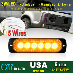 6 Led Grille Emergency Beacon Warning Synchronize Flash Strobe Light Bar Amber Y