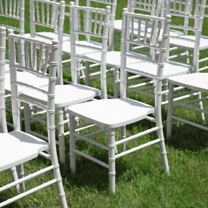 100 pack White Chiavari Stackable Wood Wedding Party Venue Banquet Chairs