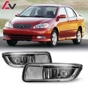 For Toyota Corolla 03 04 Clear Lens Pair Bumper Fog Light Lamp Oe Replacement