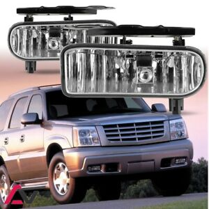 02 06 For Cadillac Escalade Clear Lens Pair Bumper Fog Light Lamp Oe Replacement