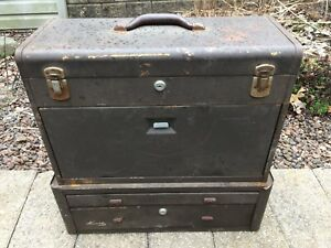 Kennedy Vtg Steel Metal Cabinet Industrial Machinist Tool Box Riser Stack Base