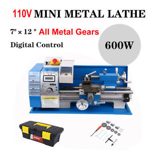 600w Automatic Mini Lathe Machine Metal Turning Metal Wood Drilling 7 12
