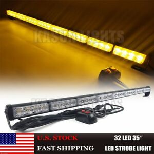 35 32w Led Traffic Advisor Vehicle Emergency Warning Strobe Light Bar Amber