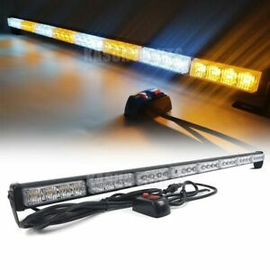 35 32w Led Traffic Advisor Emergency Warning Strobe Light Bar Amber White