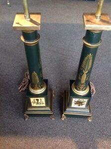 Vintage Pair Of French Neoclassical Style Green Gold Tole Column Table Lamps