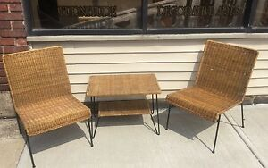 Vintage Mid Century Modern Italian 3 Piece Wicker Patio Set B