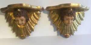 Antique Pair Of Italian Carved Wood Cherub Gilt Wall Sconces Shelves Brackets