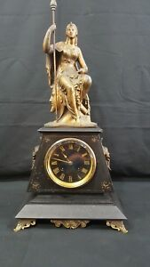 Antique French Victorian Marble Bronzed Mantle Clock Egyptian Style