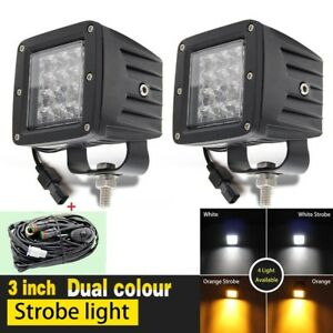 2pcs 12d 3inch Led Work Light Bar Cube 3x3 Offroad Lamp White Amber Strobe Flash
