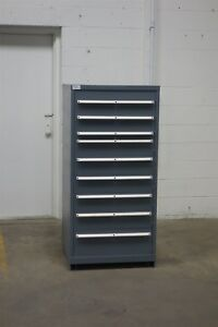 Used Lista 9 Drawer Cabinet Industrial Tool Parts Storage Bin 1387 Vidmar