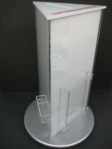 Clear Acrylic Rotating Counter Top Raffle Coupon Ticket Display Box 1750