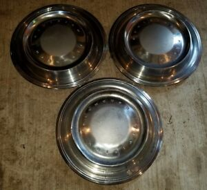 Vintage Set Of 3 Plymouth 15 Hubcaps Wheel Covers